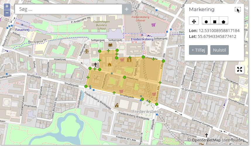 Kort over valgt område på Frederiksberg